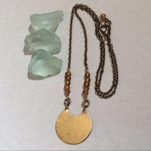 Anthropologie bronze tone Moon Necklace New